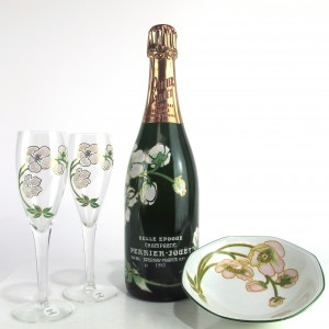 "Perrier-Jouet ""Belle Epoque"" 1983 Champagne / 2 Glasses & Bowl Giftset"